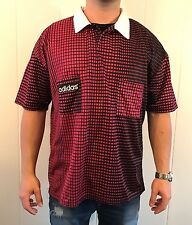 Vintage Adidas Tennis Polo Shirt Graphic Ombre Print sz XL Dark Hot Pink/Black
