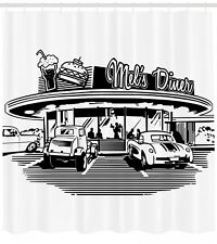 Illustration of Retro Diner with Vintage Cars 50's Themed Shower Curtain Set