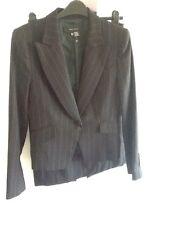 Zara new wool mix black red stripe Tailored ladies suit Skirt Jacket UK12/Eur40