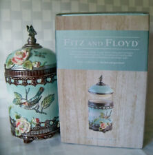 """Fitz and Floyd ~ English Garden 11"""" Round Canister Roses Birds New w/ Box"""