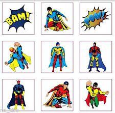 48 boys temporary SUPERHERO Tattoos party bag filler birthday sticker children
