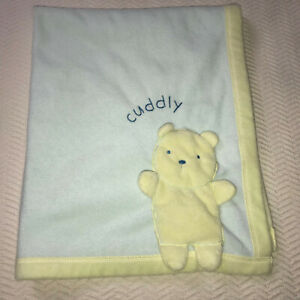 Carters Classic All About A Bear Yellow Green Cuddly Baby Blanket Doesnt Squeak