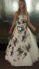 Pageant Gown Formal Wear Dress WHITE W/BLACK FLORAL Sequins/Beads Size 1/2
