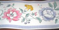 Wallpaper Border Flower Lilac Lavender Purple Trim White Wall 557242 Rose Yellow