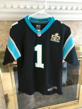 Nike On Field Youth SZ Large Panthers Cam Newton Black Superbowl Patch Jersey