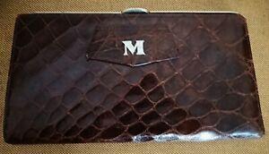 Vintage 1940s John Pound Crocodile Leather Brown Clutch Bag.