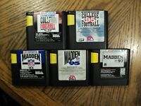 Lot of Sega Genesis Games Madden 94, 95 & 97 College Football 95 + Cartridges