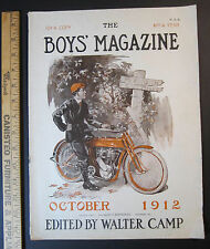 RARE Early Motorcycle Cover Art by George Avison 1912 - Complete Boys' Magazine