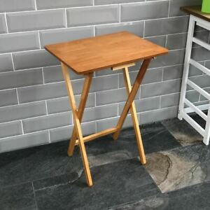 Folding Snack Table Antique Pine Wood TV Side Laptop Coffee Tea Portable Bench