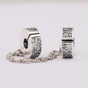 925 Silver PAVÉ INSPIRATION CZ CLIP ON SAFETY CHAIN Fit European charm bracelets