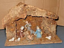 VINTAGE NATIVITY SET CRECHE STABLE HOLY FAMILY CHRISTMAS DISPLAY MADE IN ITALY