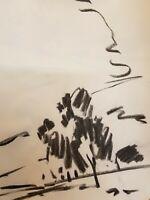"JOSE TRUJILLO Original Charcoal Paper Sketch Drawing 12"" American Expressionism"