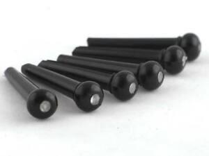 6 SUPERIOR GUITAR BRIDGE PINS string pin BLACK PLASTIC