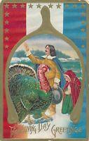 THANKSGIVING – Pilgrims and Turkey in Wishbone Patriotic Postcard