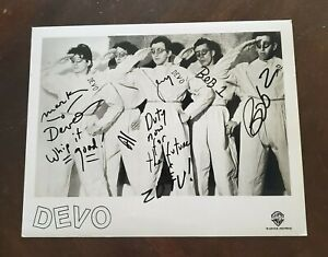 Devo Whip It Band Signed Photo 5 Mark Bob Al Jerry Duty Now for the Future