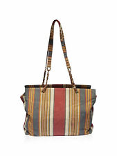 Chanel Red Beige Striped Canvas Large Shopping Tote Handbag