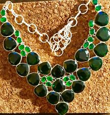 Beautiful Faceted Green Tourmaline Gemstone Handmade Necklace