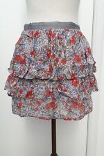 TOPSHOP Ladies Size 10 Blue Red Green Floral Mini Skirt Summer Fashion Wear