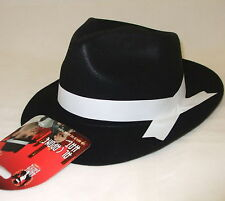 Mens Fancy Dress Gangster Hat Al Capone Black/White Trilby Flocked Outer Smiffys