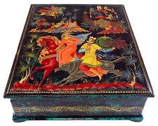 Boite Laquée Kholouï Conte russe L'oiseau de feu Ivan-tsarévitch et le loup gris