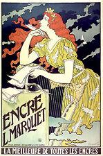 Repro Art Nouveau Style Advertising Print 'Encre L.Marquet'