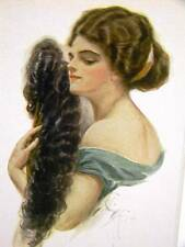 Harrison Fisher Girl LADY w/ FAN 1913 Art Print Matted