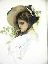 Harrison Fisher Girl SUN HAT IN GARDEN 1908 Art Print Matted