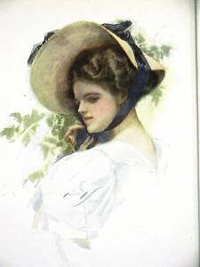 Harrison Fisher Girl SUN HAT IN GARDEN 1908 Art Print Matted