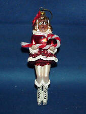 ICE SKATER WITH CANDY CANE MERCURY GLASS CHRISTMAS ORNAMENT MUST SEE