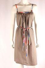 Gorman Light Brown Sleeveless Tie Waist Cotton Sun Dress Size S