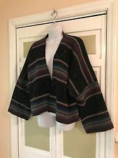 Chicos Brand Classy Multicolor Wool Blend Striped Indian Print Jacket Sz L