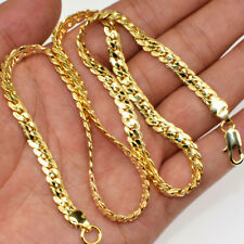"Fashion Jewelry 20"" 18K Gold Filled 6MM Chain Men Flat Necklace Chains Gift"