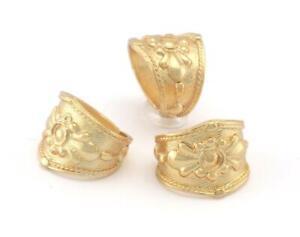 Signet Ring Flower Adjustable Ring Shiny Gold Plated Brass 5-9US Adjustable 3994