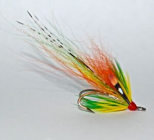 3 CASCADE GREEN HIGHLANDER SALMON FLIES TIED TO SIZE 8 DOUBLE HOOKS.