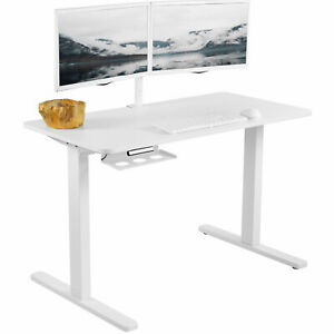 "VIVO White 47""x 24"" Electric Sit Stand Desk, Height Adjustable Workstation"
