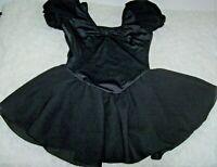 CAPEZIO BLACK DANCE SKIRTED LEOTARD Girls Size M 7/8 Short Puff Sleeves