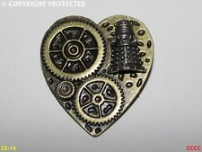dalek Doctor Who timelord timeywimey Steampunk pin badge brooch bronze heart