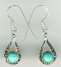 """925 Sterling Silver Turquoise & Marcasite Small Drop Earrings on Hooks L 1.1/5"""""""