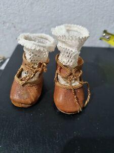 Paire de chaussures anciennes POUR ANTIQUE POUPÈE BRU JUMEAU RABERY STEINER