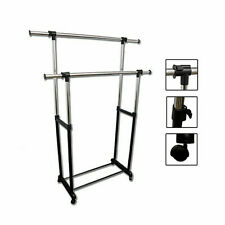 Portable Double Levers Clothes Rack with casters - Ore International Nh4002