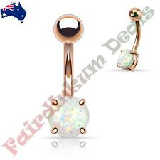 Rose Gold Ion Plated Belly Ring with Prong Set White Glitter Opal
