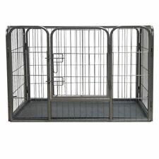 HEAVY DUTY METAL PLAYPEN WITH FLOOR ENCLOSURE DOG RABBIT PUPPY WHELPING RUN CAGE