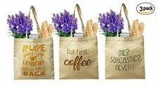 Earthwise Organic Cotton Reusable Grocery Bag Shopping Totes (Set of 3)