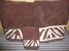 KASSATEX SAFARI BROWN ANIMAL STRIPE (3PC) SET BATH & WASHCLOTH TOWELS