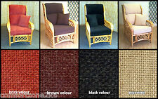 REPLACEMENT VEL CUSHION COVERS CANE RATTAN WICKER CONSERVATORY GARDEN FURNITURE