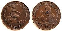 Spain-Gobierno provisional. 5 Centimos 1870. Barcelona. EBC/XF. Cobre 5 g.