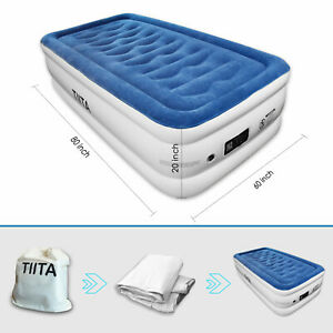 TIITA TWIN Durable Air Mattress, Built-in Quick Pump, with Storage Bag, 20 in