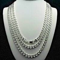 Heavy 8mm Solid 925 Sterling Silver Cuban Link Curb Chain Necklace 16 - 24 INCH
