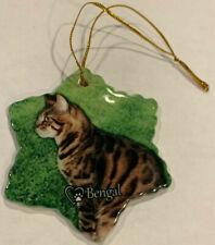 Bengal Cat Porcelain Star Shaped Christmas Ornament New