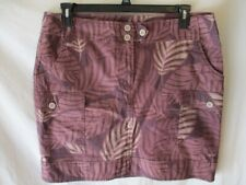 Axcess Cotton Blnd Size 14 Brown Floral Short Stretch Skirt